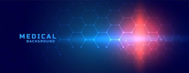 Banner de ciencia médica con diseño de formas hexagonales