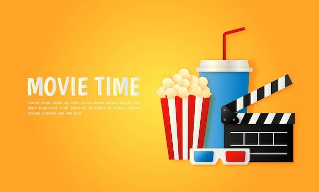 Banner de cine y película en arte de papel amarillo.
