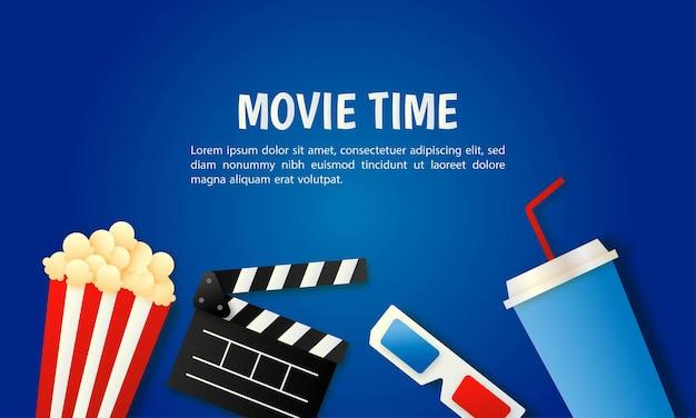 Banner de cine y película en arte de papel azul.