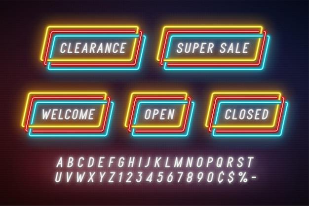 Banner de cinta de promoción lineal de luz de neón, etiqueta de precio