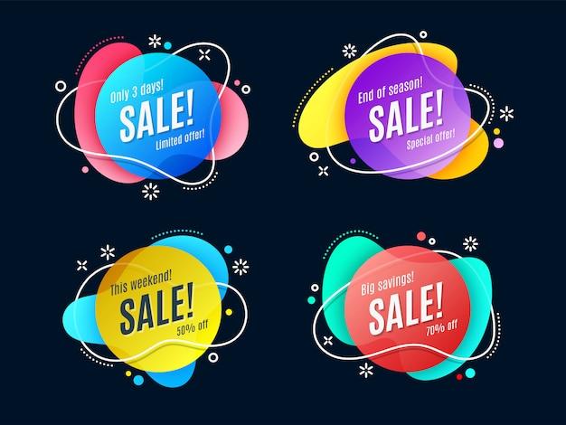 Banner de cinta de promoción lineal plana, desplazamiento, etiqueta de precio