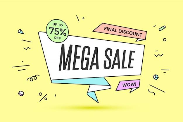 Banner de cinta con texto mega venta