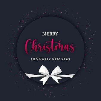 Banner circular de navidad con brillo rojo y lazo de regalo blanco