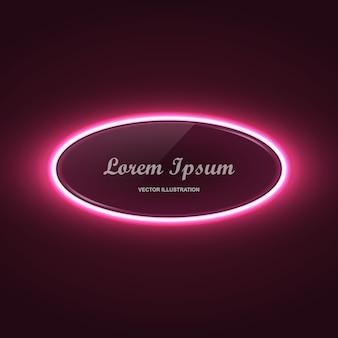 Banner de círculo de neeon con efecto de luz brillante