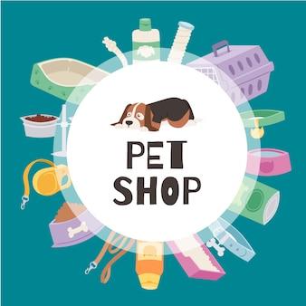 El banner del círculo petshop contiene un lindo perrito, una jaula para gatos y perros, juguetes, comida para mascotas, ilustraciones de tazones.