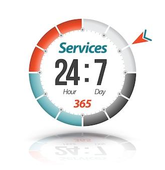 Banner de círculo servicios 24 horas 7 días 365