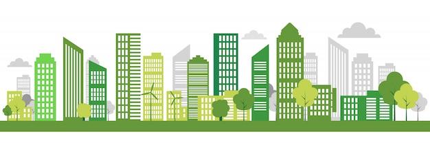Banner de ciudad ecológica verde