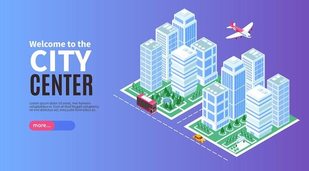 Banner de ciudad isométrica con rascacielos
