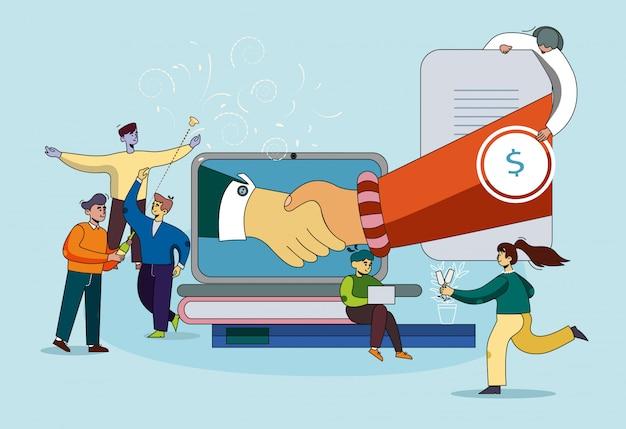 Banner coaching de cooperación mutuamente beneficiosa.
