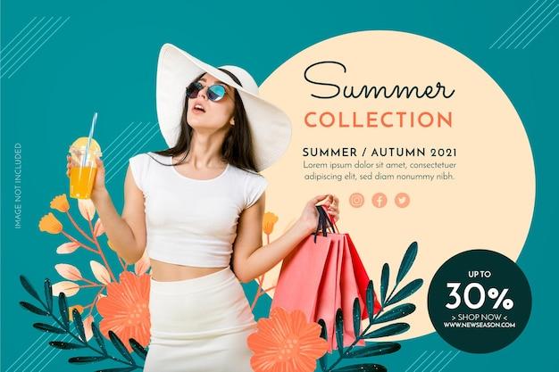 Banner de colección de verano con flores dibujadas a mano