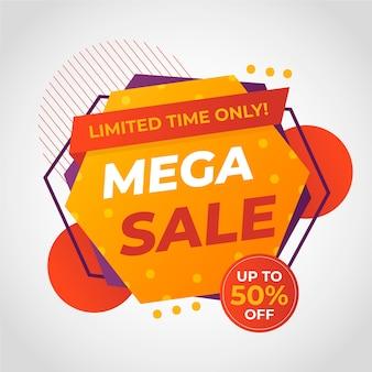 Banner colorido abstracto mega venta