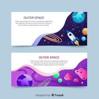 Banner colorido espacio exterior