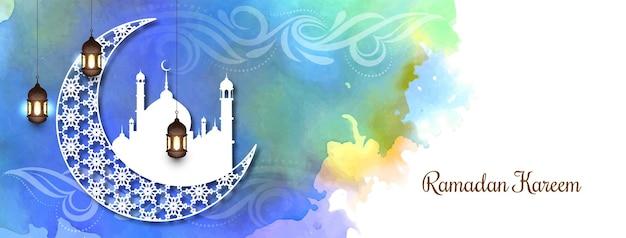 Banner colorido festival ramadán kareem con luna creciente