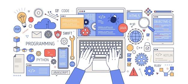 Banner colorido con manos trabajando en computadora, diferentes aparatos electrónicos, dispositivos y símbolos. programación, desarrollo de software, codificación de programas.