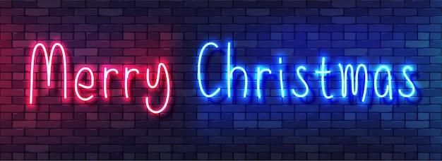 Banner colorido de neón de feliz navidad