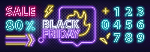 Banner colorido de neón de venta de viernes negro. letreros de neón de texto moderno.