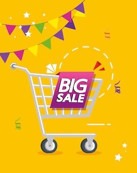 Banner comercial con letras de oferta de gran venta y carrito de compras