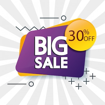 Banner comercial con letras de oferta de gran venta y treinta por ciento de descuento