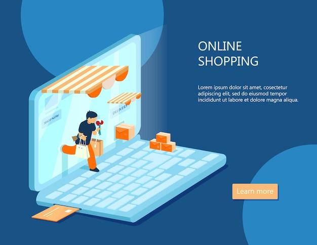 Banner de comercio electrónico isométrico. concepto de compra online. hombre con compras sale de la computadora portátil.