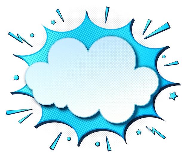Banner de cómic de dibujos animados. discurso azul burbujas en estilo pop art