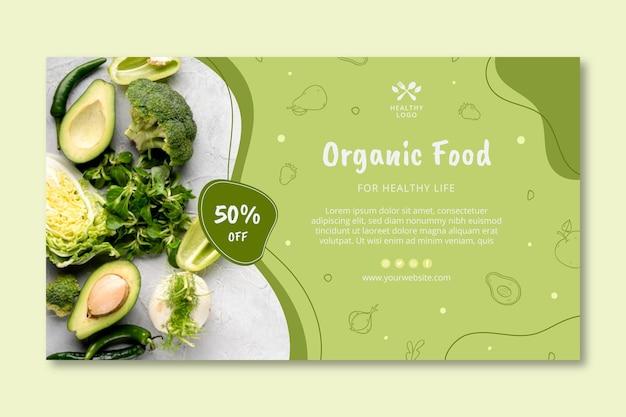 Banner de comida bio y saludable.
