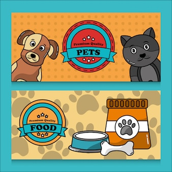 Banner de comida de calidad premium para mascotas