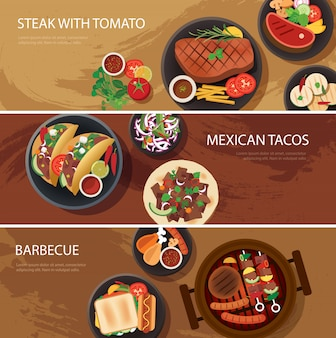 Banner de comida callejera, bistec, tacos mexicanos, barbacoa