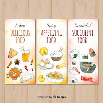 Banner comida deliciosos dibujada a mano