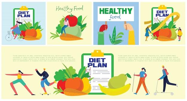 Banner de comida, dieta, estilo de vida saludable y pérdida de peso con un plato de ensalada, juego de mesa, teléfono inteligente y plan de dieta en un cuaderno