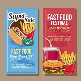 Banner de comida rápida en estilo doodle