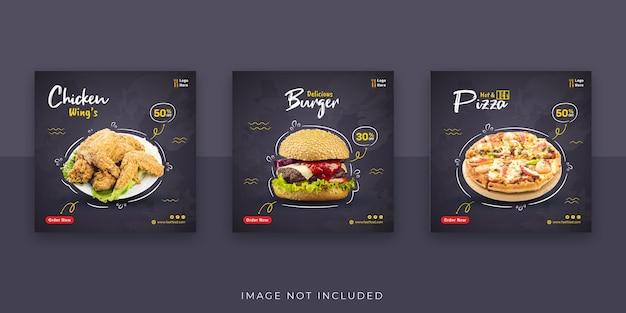 Banner de comida rápida y plantilla de publicación en redes sociales