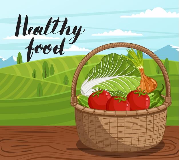Banner de comida sana granja con vegetales