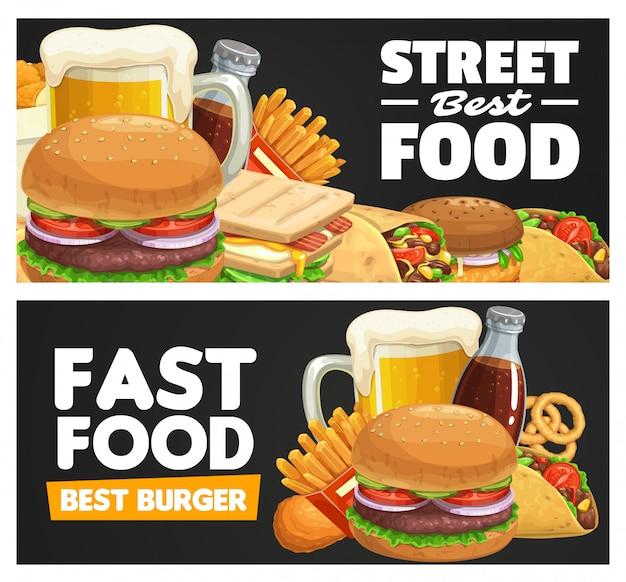 Banner de comidas y bocadillos de comida rápida