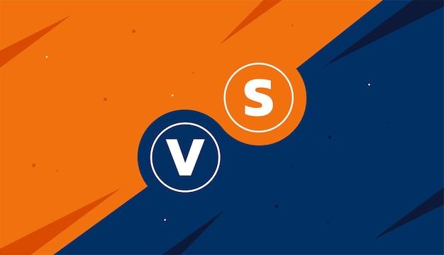 Banner de comparación versus vs en plantilla de diseño vectorial de colores naranja y azul