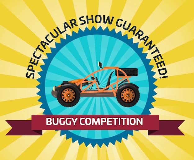 Banner de competencia de coche con buggy off road