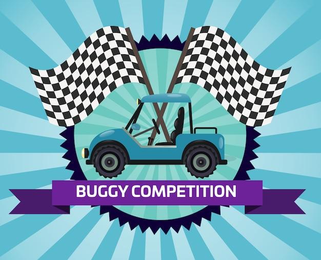 Banner de competencia de rally de buggy con bandera a cuadros