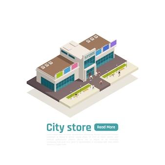 Banner de composición de centro comercial de centro comercial isométrico con botón verde y gran ilustración de vector de centro comercial aislado
