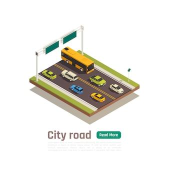 Banner de composición de ciudad color e isométrica con título de carretera de ciudad y leer más ilustración de vector de botón verde