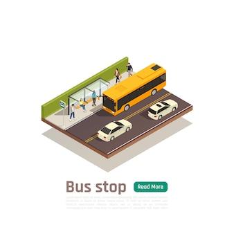 Banner de composición de ciudad color isométrica con parada de autobús titular personas se sientan en la ilustración de vector de banco