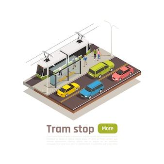 Banner de composición de ciudad isométrica y coloreada con estación de tranvía y gran botón verde ilustración vectorial
