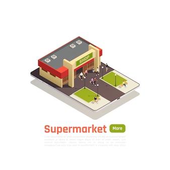 Banner de composición isométrica de centro comercial tienda centro comercial con vista superior edificio y césped ilustración vectorial