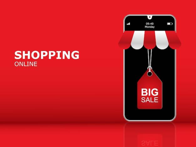 Banner de compras en línea, aplicación móvil