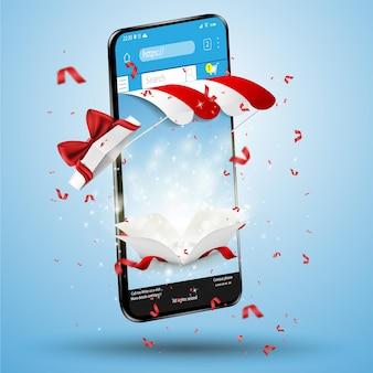 Banner de compras en línea con un gran teléfono inteligente con cajas de regalos