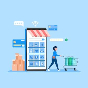 Banner de compras en línea, plantillas de aplicaciones móviles, diseño plano de concepto