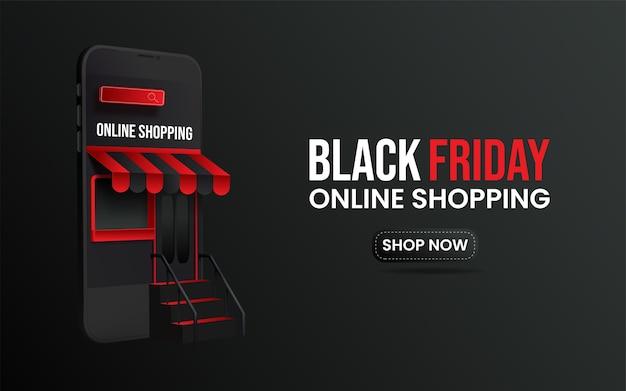 Banner de compras en línea de viernes negro.