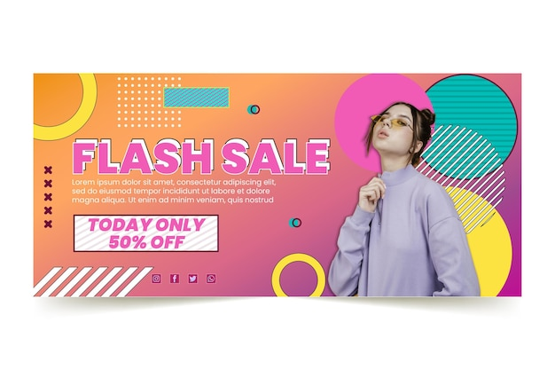 Banner de compras en línea vector gratuito