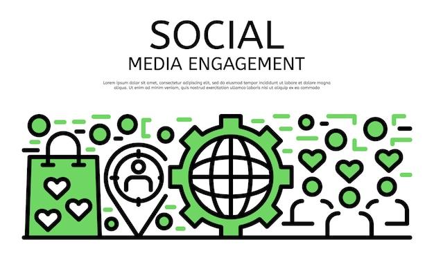 Banner de compromiso de redes sociales, estilo de contorno
