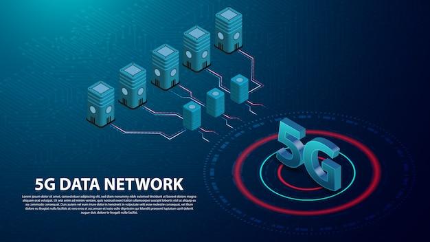 Banner de comunicación de tecnología de red de datos 5g
