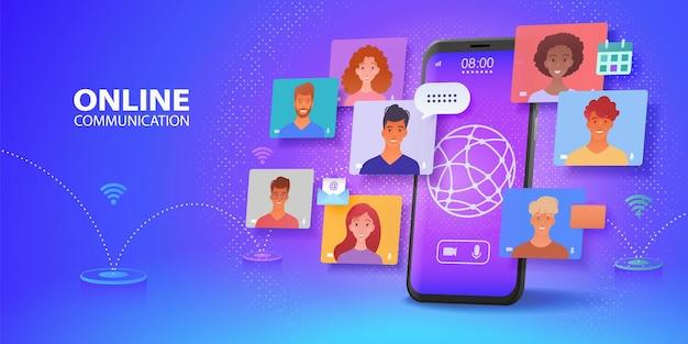 Banner de comunicación virtual en línea con el uso de teléfonos inteligentes charlando con colegas