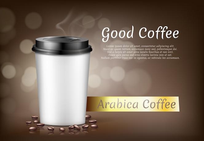 Banner con taza de café arábica para llevar y frijoles, recipiente de cartón para bebida caliente